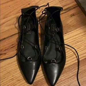 Black Topshop pointy toe lace up flats 7.5